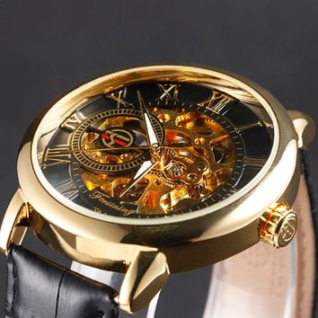mens mechanical watches top brand luxury watch Fashion Design Black Golden watches leather strap skeleton watch with gift box