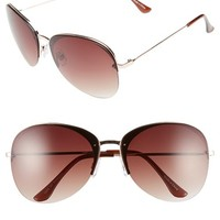 Junior Women's BP. 65mm Rimless Metal Aviator Sunglasses - Brown/ Gold