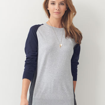 Color Block Sweater - navy/charcoal/grey