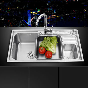 sink Free shipping single groove single bowl vegetable washing basin pots 304 stainless steel Kitchen Sinks with Soap dispenser