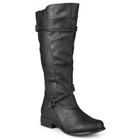 Journee Collection Womens Regular Sized and Wide-Calf Ankle-Strap Buckle Knee-High Riding Boot