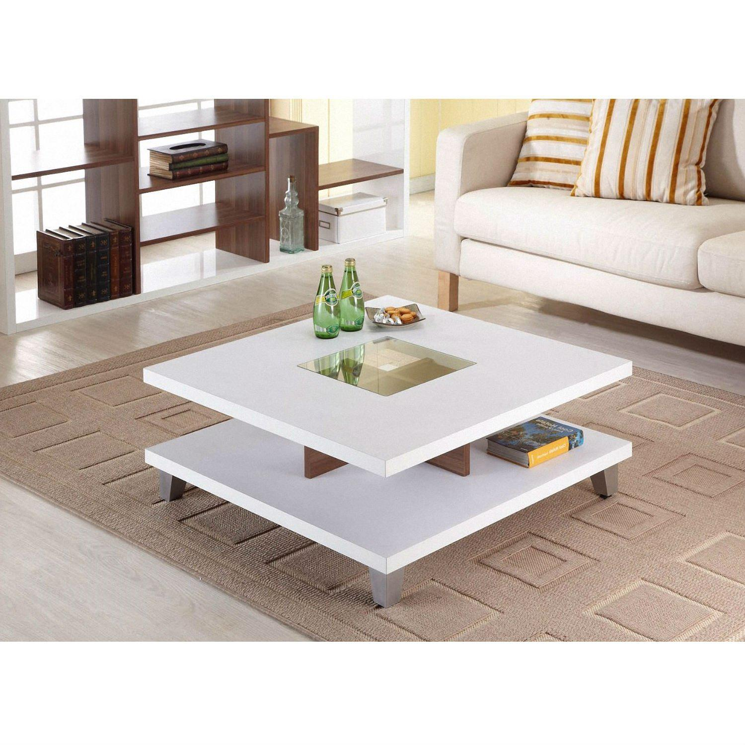 Modern Square Coffee Table in White Wood from Hearts Attic