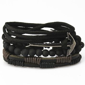 New Fashion Bead Leather Bracelets & bangles for Woven 3/4 pcs 1 Set Multilayer Wristband Vintage Handmade Bracelet Men Pulseira
