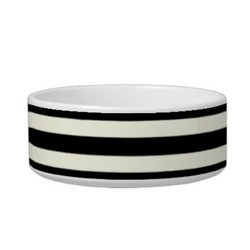 Customizable Ceramic Cat Bowl (Black Stripes)
