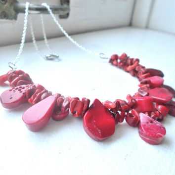 Red Bamboo Coral Layered Necklace