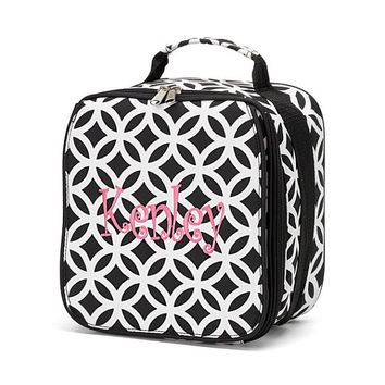 Monogrammed Lunchbox Lunchbag Black Sadie Geometric Insulated Cooler School Personalized Lunch Box Bag