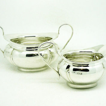 Solid Silver Sugar Bowl & Cream Jug, Sterling, Creamer, Vintage, Heavy, ENGLISH, Hallmarked Sheffield 1931, Emile Viner, REF:226Q2