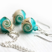 Beach jewelry set, SPECIAL PRICE, Ocean teal glass pendant, lampwork earrings - beach jewelry - by MayaHoney