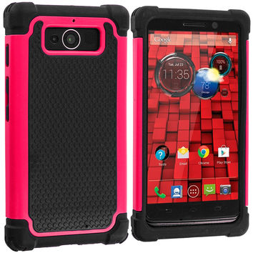 Black / Hot Pink Hybrid Rugged Armor Protector Hard Case Cover for Motorola Droid Mini XT1030