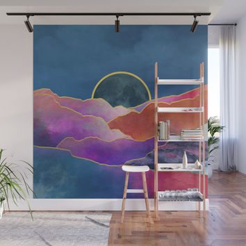 Rainbow mountains & gold Wall Mural by marcogonzalez