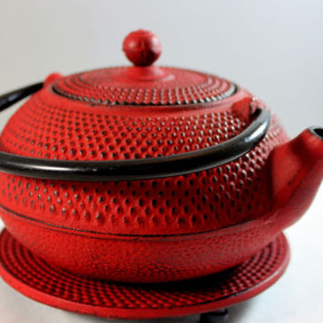 Red Cast Iron Japanese Tea Kettle With Stand Pebble Finish