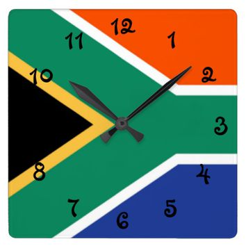 South Africa Flag Square Wall Clock