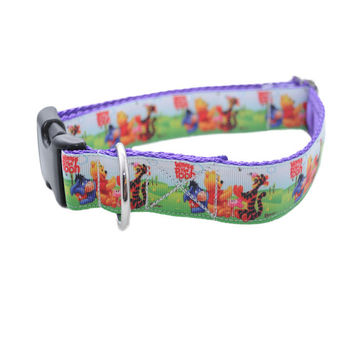 Summer Winnie the Pooh & Friends Ribbon Dog Collar - Choice of Fastening on Collar - Handmade