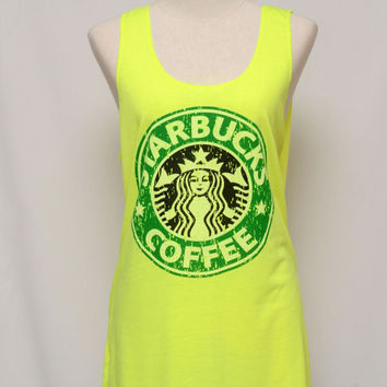 Classic Starbucks Color Neon Green tank top Tunic Unisex Shirt men Vest Women Sleeveless Singlet T-Shirt Size  L