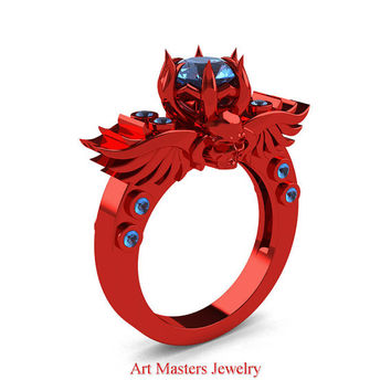 Art Masters Classic Winged Skull 14K Red Gold 1.0 Ct Blue Topaz Solitaire Engagement Ring R613-14KRGBT