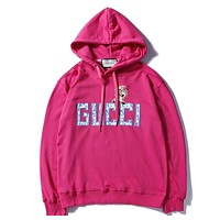 GUCCI autumn and winter new embroidered piglet letter flower head hooded sweater F-A-KSFZ Rose red