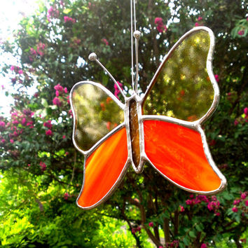 Butterfly Orange and Yellow Stained Glass Suncatcher Gift for Mom Butterfly Art Home Decor Window Ornament Garden Decoration Glass Art