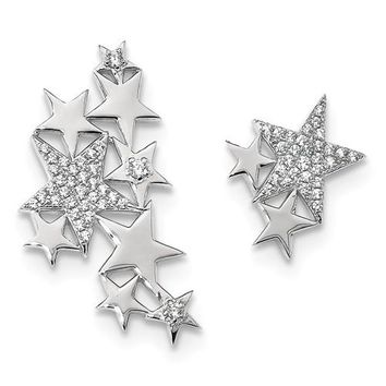 Sterling Silver Rhodium-Plated CZ Shooting Stars Ear-Climber Earrings, 29mm