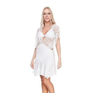 White Chantilly Tunic Cover-up Dress