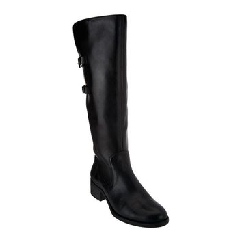 Isaac Mizrahi Live! Wide Calf Black Riding Boots with Straps