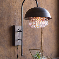 Metal Dome Wall Lamp with Gems