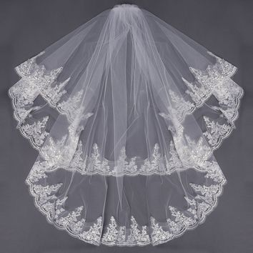 2 Layers Bridal Wedding Embroidery Lace Pearl Beaded Edge Elbow Veil With Comb