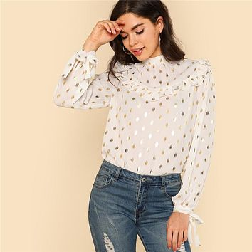 Womens Tops and Blouses Long Sleeve Stand Collar Ruffle Detail Blouse Tie Back And Cuff Gold Dot Print Top