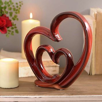 Red Ceramic Heart Statue