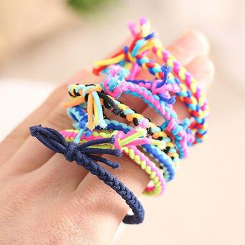 DCCKWJ7 10pcs/lot Colorful Hand Wave Colorful Braided Elastic Rubber Hairband Rope Ponytail Holder Hair accessories