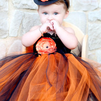 Beautiful Mini Witch Hat in Black/Orange/Gold for Baby Girl Halloween Costume 6-24 Months old