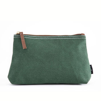 Waxed Moss Canvas Pouch