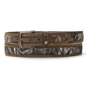 Nocona Mens Mossy Oak Break Up Inlay Leather Belt