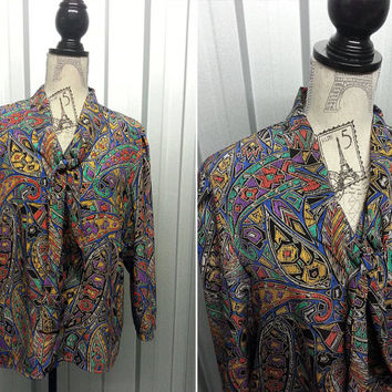 80's Abstract Hipster Shirt Fresh Prince of Bel Air Pussybow Blouse Grunge Shirt Paisley Shirt Club Kid Oversized Shirt Psychedelic blouse