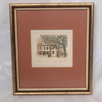 Vintage Etching of an Old Home and Trees, Framed Limited Edition Wall Art by Canadian Artist Gilles Gingras  Red Black Green