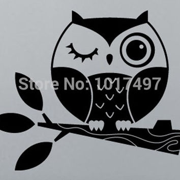 Small size Cute Owl Stickers , Vinyl Owl on Branch Decals for Laptop car bathroom home decoration ,free shipping P2050