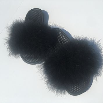 Just do it Nike Black faux fur slides 4cf79a2aa