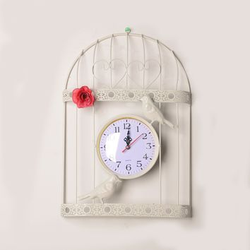 Iron Pastoral Style Home Accessory Creative Gifts Romantic Clock [6282971718]