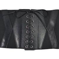 Gothic Steampunk Black Corset Lace Up Wide Waistband Cinch Belt