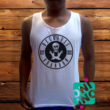 Reckless Abandon Men's White Cotton Solid Tank Top