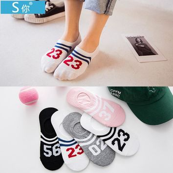 Summer Digital Woman Cotton Invisible Stripe Motion Socks Low Ankle Sock boy boat casual slippers 4pair=8pcs ws116