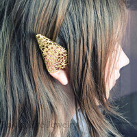 Elf Ear Cuffs Ornate Brass Filigree Elven Ear Tip Covers Two piece set Non  pierced No pierce