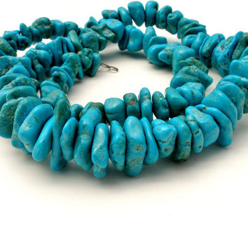 "Kingman Mine Turquoise Nugget Bead Necklace 25"" Vintage Sterling"