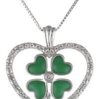 """10k White Gold Green Enamel Four-Leaf Clover with Diamond Heart Pendant Necklace (0.07 Cttw I-J Color, I2-I3 Clarity), 18"""""""