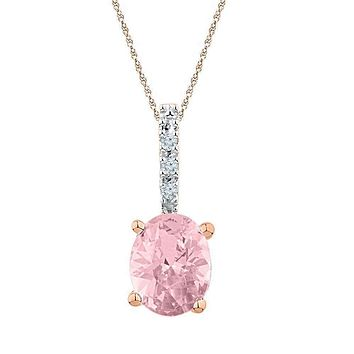 10k Rose Gold Women's Oval Lab-Created Morganite Solitaire Pendant