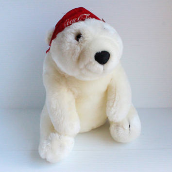 Coca Cola (COKE) Stuffed Plush Polar Bear, white stuffed bear, bear and baseball hat, collectible advertising, promotional item NWT