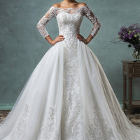 vestido de noiva 2016 Vintage Wedding Dress with Sheer Long Sleeves Ball Gown Appliques Lace Tulle Customize vestido longo
