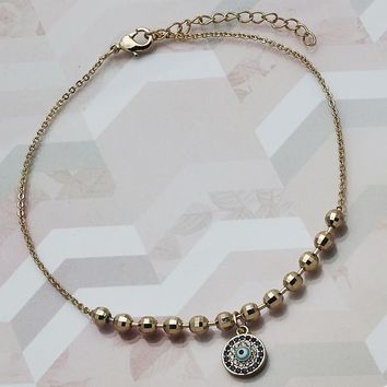 Gold Layered Women Greek Eye Charm Anklet , with Sapphire Blue Micro Pave, by Folks Jewelry
