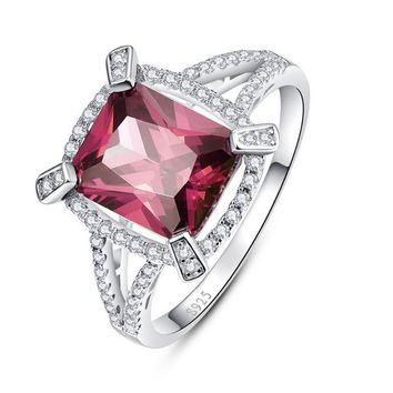 Garnet 5CT 925 sterling silver Ring Premiere Class Engagement Ring Emerald Cut Silver S925 AAA Jewelry SZ 6-9