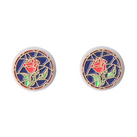 Disney Beauty And The Beast Stained Glass Rose Stud Earrings