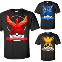 Pokemon Go Team Valor Mystic Instinct Pokeball Mens Womens Summer Top T-shirts